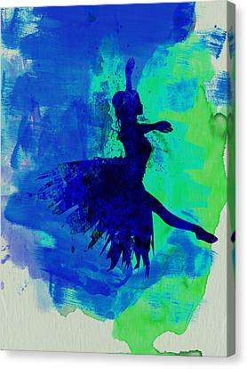 Ballerina On Stage Watercolor 5 Canvas Print by Naxart Studio