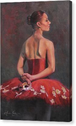 Ballerina With Mask Canvas Print by Anna Rose Bain