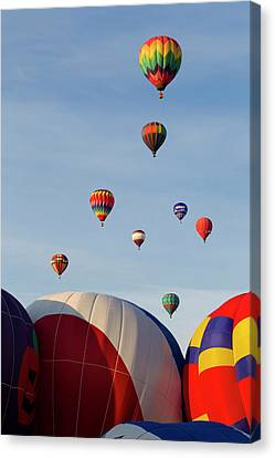 Balloons Lifting For The Mass Ascension Canvas Print by Maresa Pryor