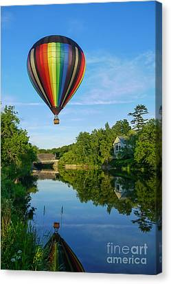 Balloons Over Quechee Vermont Canvas Print by Edward Fielding