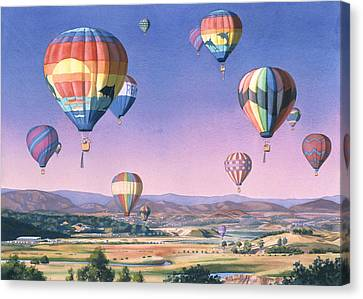 Balloons Over San Dieguito Canvas Print by Mary Helmreich