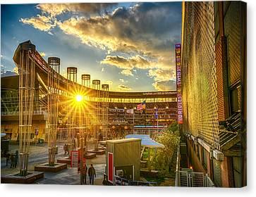 Ballpark Sunset At Target Field Canvas Print by Mark Goodman