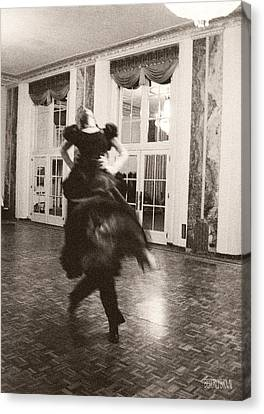 Ballroom Dancers Lift - Sepia Photograph Canvas Print by Beverly Brown Prints