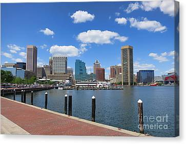 Baltimore Inner Harbor Canvas Print by Olivier Le Queinec
