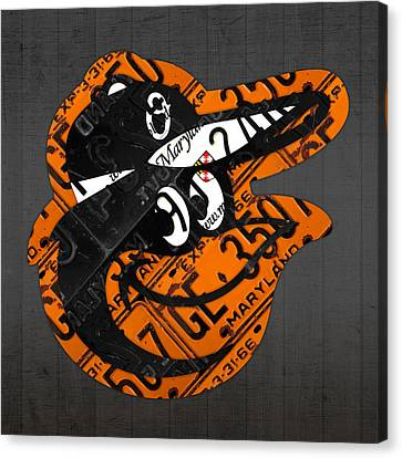 Baltimore Orioles Vintage Baseball Logo License Plate Art Canvas Print by Design Turnpike