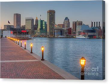 Baltimore Skyline At Twilight I Canvas Print by Clarence Holmes