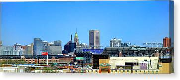 Baltimore Stadiums Canvas Print by Olivier Le Queinec