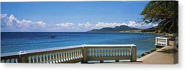 Balustrade On The Beach, Esperanza Canvas Print by Panoramic Images