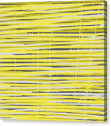 Bamboo Fence - Yellow And Gray Canvas Print by Saya Studios