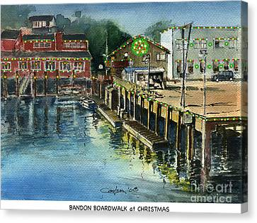 Bandon Boardwalk At Christmas Canvas Print by Anthony Coulson