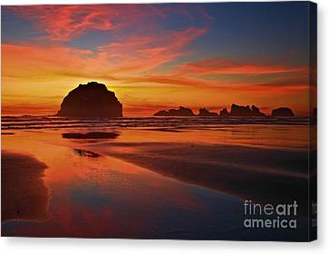 Bandon Sunset Spectacular Canvas Print by Adam Jewell