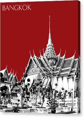 Bangkok Thailand Skyline Grand Palace - Dark Red Canvas Print by DB Artist