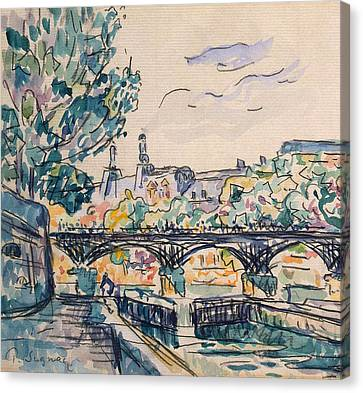 Bank Of The Seine Near The Pont Des Arts Canvas Print by Paul Signac