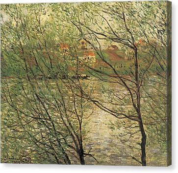 Banks Of The Seine Island Of La Grande Jatte Canvas Print by Claude Monet
