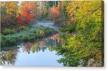 Bantam River Autumn Canvas Print by Bill Wakeley