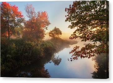 Bantam River Sunrise Canvas Print by Bill Wakeley