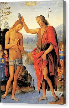 Baptism Of Christ Canvas Print by Pietro Perugino