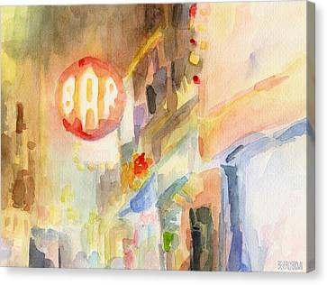 Bar 8th Avenue Watercolor Painting Of New York Canvas Print by Beverly Brown Prints