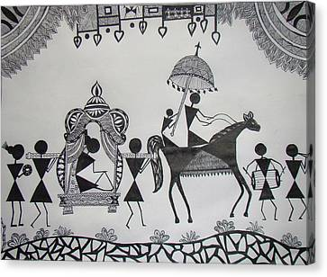 Baraat - The Wedding Procession Canvas Print by Sachin Raverkar
