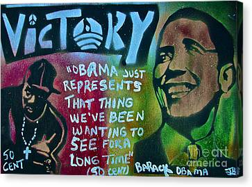 Barack And Fifty Cent Canvas Print by Tony B Conscious