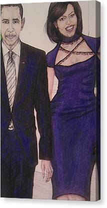 Barack And Michelle Obama On The Balcony At The Whitehouse Canvas Print by Vicki  Jones