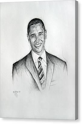 Barack Obama 2 Canvas Print by Michael Morgan