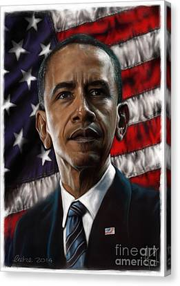 Barack Obama Canvas Print by Andre Koekemoer