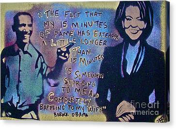 Barack With Michelle Canvas Print by Tony B Conscious