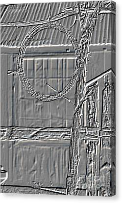 Barbed Wire Metal Print Hanging By Ranch House 3006.04 Canvas Print by M K  Miller