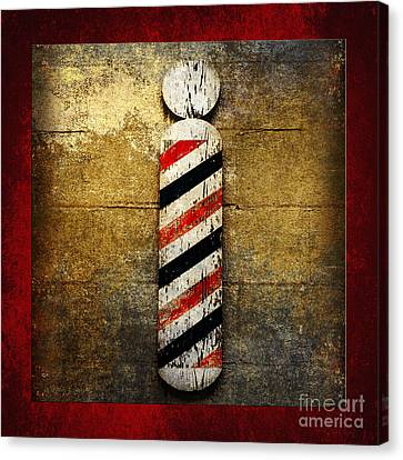 Barber Pole Square Canvas Print by Andee Design