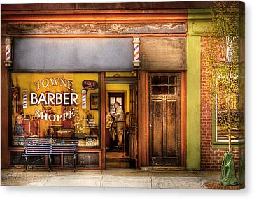 Barber - Towne Barber Shop Canvas Print by Mike Savad