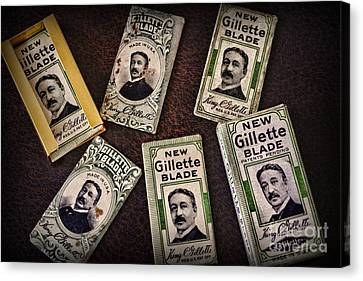 Barber - Vintage Gillette Razor Blades Canvas Print by Paul Ward