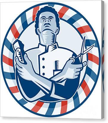 Barber With Pole Hair Clipper And Scissors Retro Canvas Print by Aloysius Patrimonio