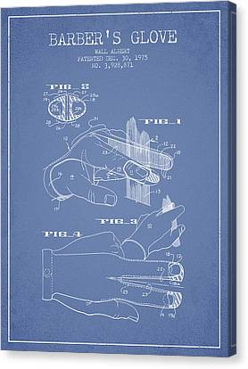 Barbers Glove Patent From 1975 - Light Blue Canvas Print by Aged Pixel