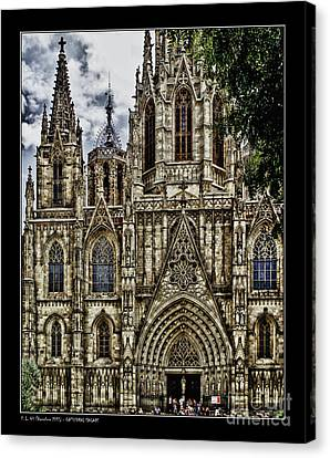 Barcelona Cathedral Facade Canvas Print by Pedro L Gili