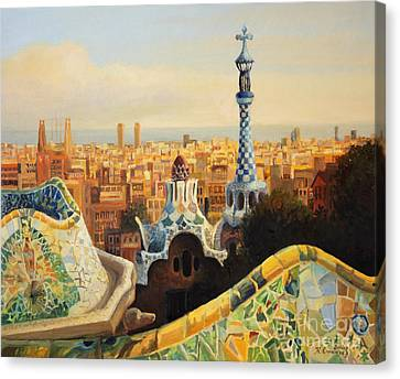 Barcelona Park Guell Canvas Print by Kiril Stanchev