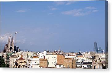 Barcelona Skyline Canvas Print by Patrick Dinneen
