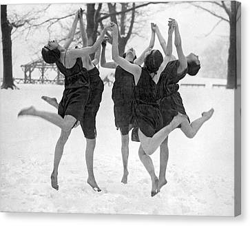 Barefoot Dance In The Snow Canvas Print by Underwood