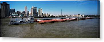 Barge In The Mississippi River, New Canvas Print by Panoramic Images