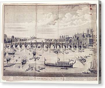 Barges At Westminster Bridge Canvas Print by Library Of Congress