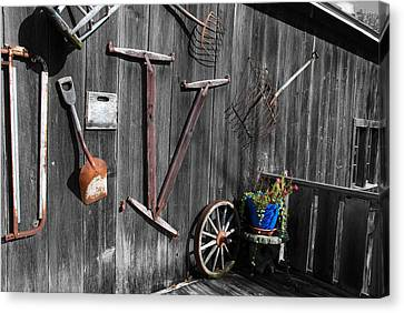Barn Art No.3 - Color On Black And White Canvas Print by Janice Adomeit