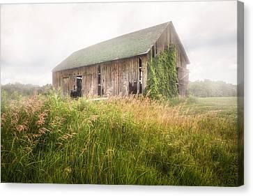 Barn In A Misty Field Canvas Print by Gary Heller