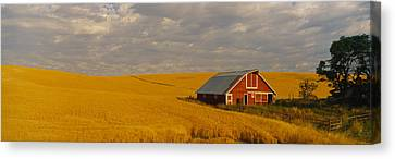 Barn In A Wheat Field, Palouse Canvas Print by Panoramic Images