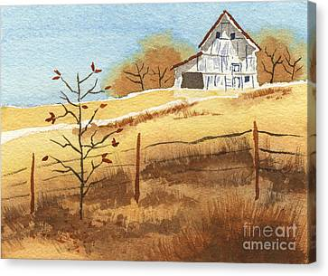 Barn In Autumn Canvas Print by Beverly Claire Kaiya