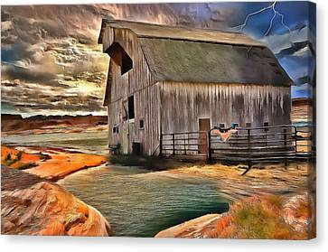 Barn In Golden Light  Canvas Print by L Wright