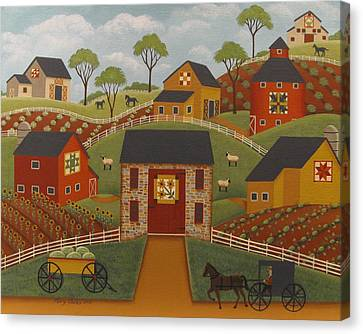 Barn Quilts Canvas Print by Mary Charles