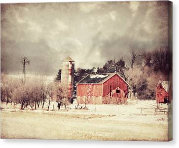 Barn Silo And Windmill Canvas Print by Julie Hamilton