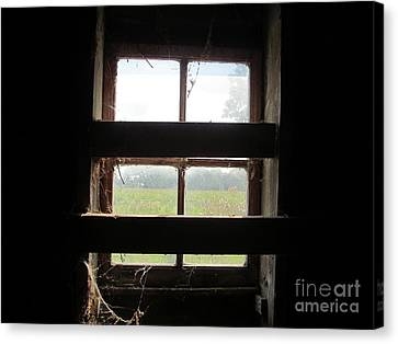 Barn South Lower Window Canvas Print by Tina M Wenger