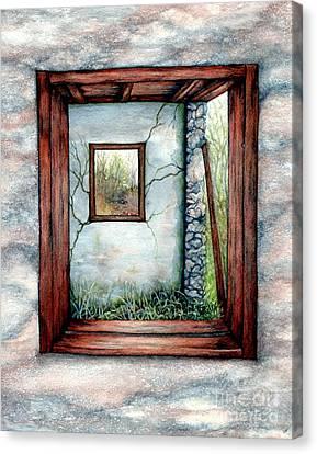 Barn Window Peering Through Time Canvas Print by Janine Riley