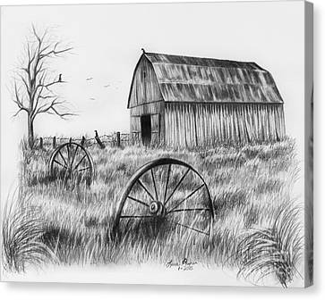 Barn With Crows Canvas Print by Lena Auxier